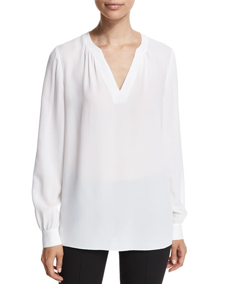 Michael Kors Collection Slit-Neck Silk Blouse, White