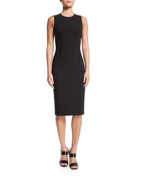 Michael Kors Collection Sleeveless Stitch-Seam Sheath Dress, Black