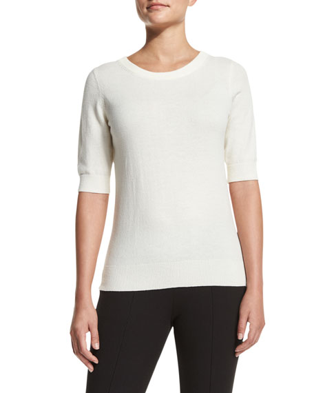 Michael Kors Collection Elbow-Sleeve Jewel-Neck Cashmere Top, White