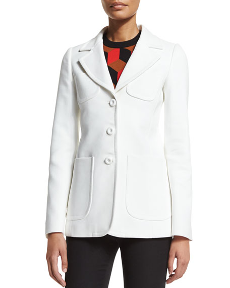 Michael Kors Collection Patch-Pocket Three-Button Jacket, Optic