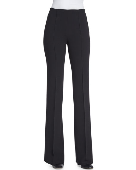 Agnona Wide-Leg Wool Trousers, Black