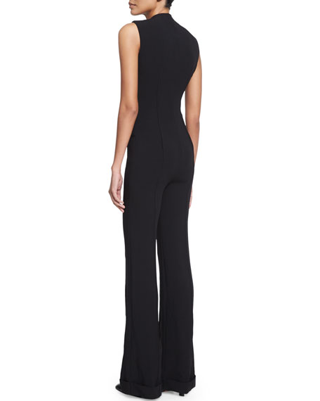 Sleeveless Slim-Leg Jumpsuit, Black