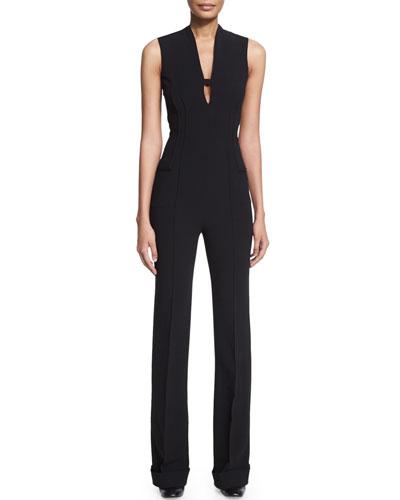 Sleeveless Slim-Leg Jumpsuit, Black