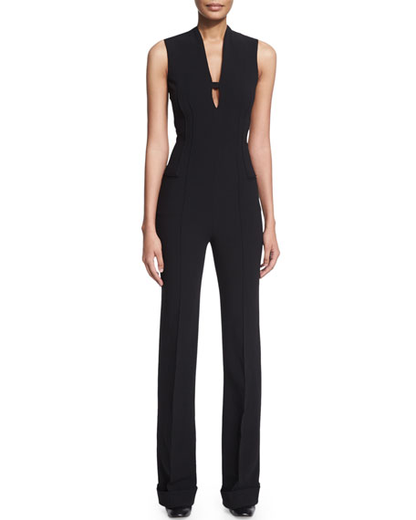 Agnona Sleeveless Slim-Leg Jumpsuit, Black