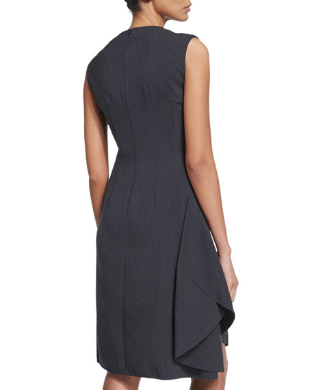Sleeveless Ruffled Work Dress, Medium Gray