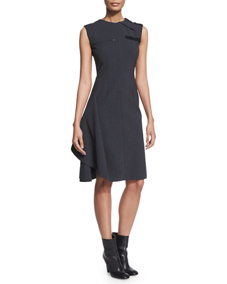 Agnona Sleeveless Ruffled Work Dress, Medium Gray