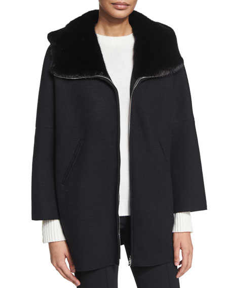 Agnona Easy Cashmere Cape Coat W/Mink Fur, Black