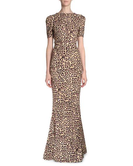Givenchy Short-Sleeve Jaguar-Printed Gown, Pink
