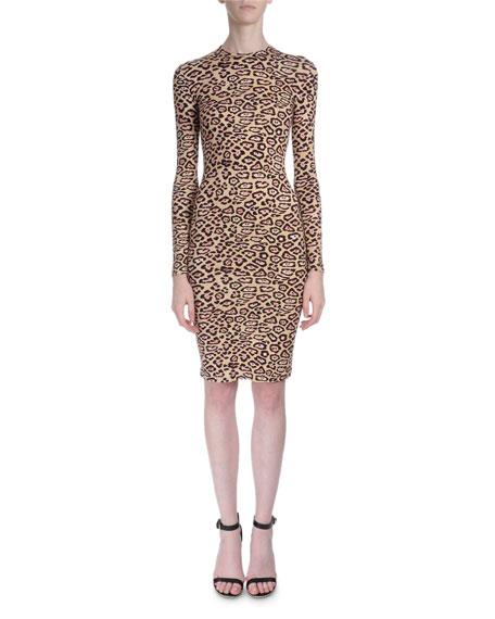 Givenchy Long-Sleeve Jaguar-Print Dress, Pink