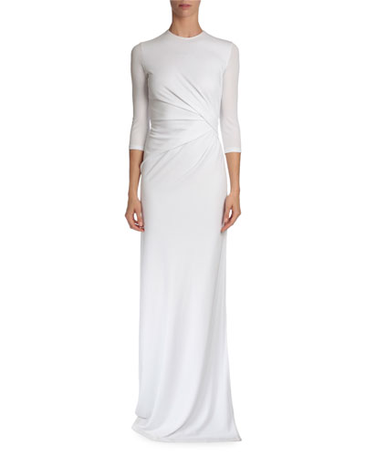 3/4-Sleeve Pleated-Front Gown, White