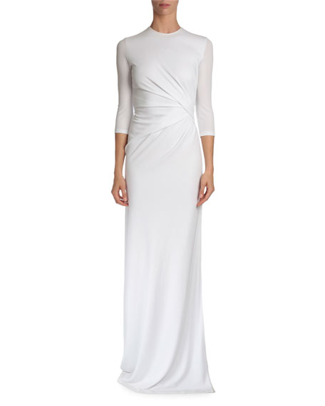 Givenchy 3/4-Sleeve Pleated-Front Gown, White