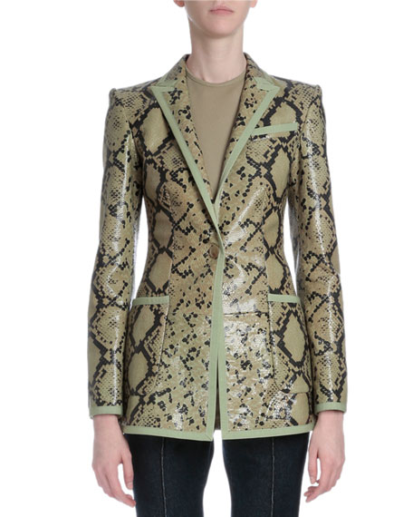 Givenchy Snake-Embossed Leather Jacket, Green Multi