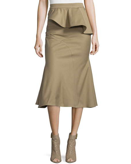 Givenchy High-Waist Peplum Drill Midi Skirt, Beige