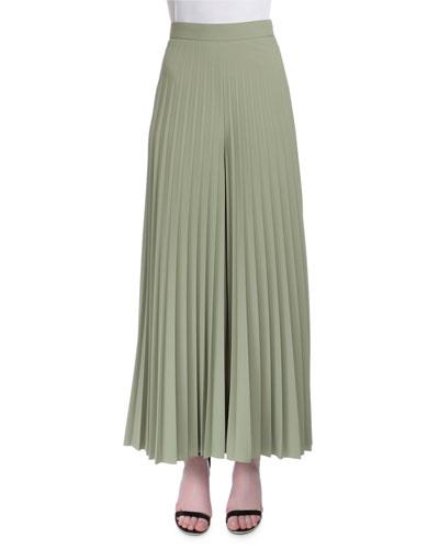 High-Waist Wide-Leg Plisse Pants, Green