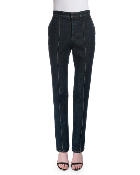 Givenchy High-Waist Slim-Leg Jeans, Denim