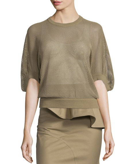 Givenchy Half-Sleeve Mesh Victorian Pullover Top, Beige