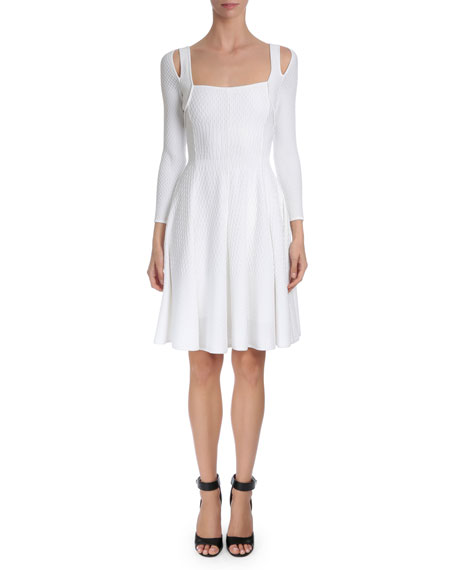 Givenchy Textured-Wave Fit-&-Flare Dress, White