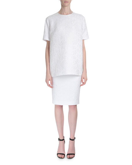 givenchy high waist lace pencil skirt white