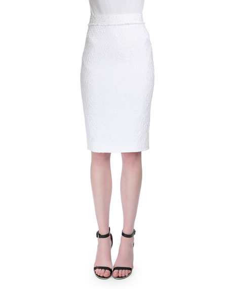 Givenchy High-Waist Lace Pencil Skirt, White