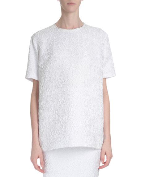 Givenchy Short-Sleeve Oversized Lace Blouse, White