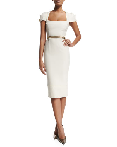 Galaxy Square-Neck Sheath Dress, White