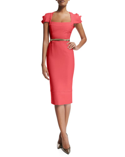 Galaxy Square-Neck Sheath Dress, Rose Pink