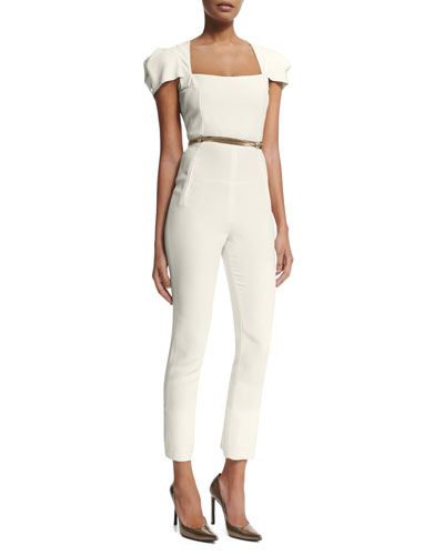 Galaxy Square-Neck Jumpsuit, White