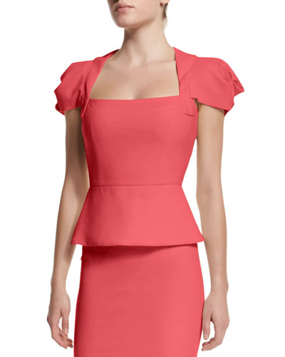 Galaxy Square-Neck Peplum Top, Rose Pink