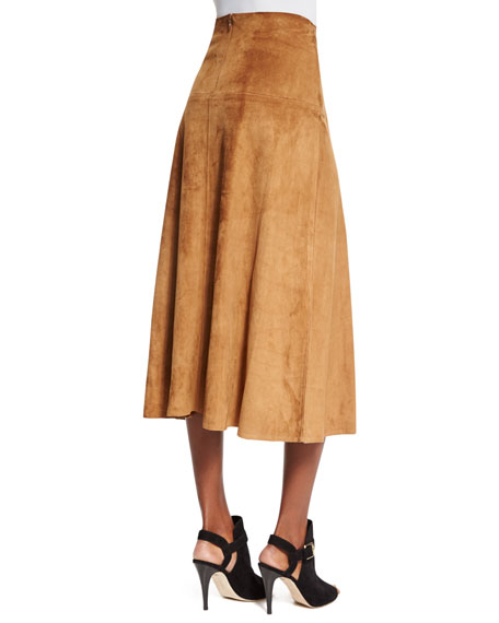 Ralph Lauren Collection Lace-Up Suede A-Line Skirt, Caramel