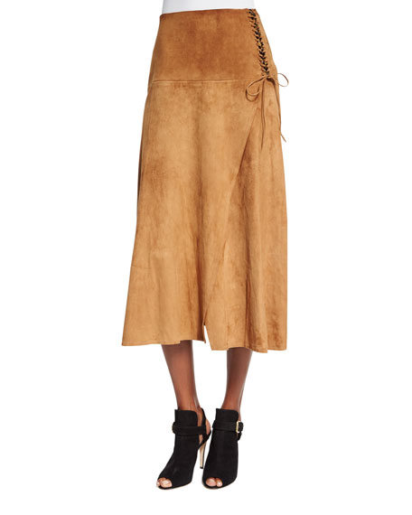 Tan Suede A Line Skirt