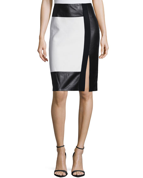 Ralph Lauren Colorblock Leather-Inset Pencil Skirt, Cream/Black