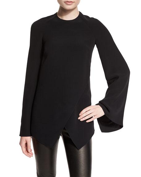 Ralph Lauren Mulberry Silk Cady Long-Sleeve Top, Black