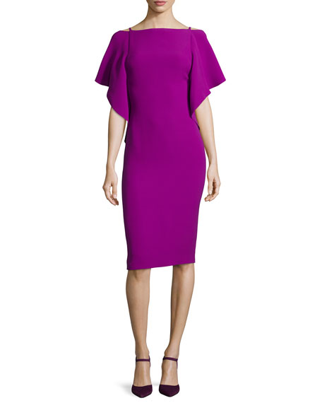 Ralph Lauren Collection Flutter-Sleeve Scoop-Back Dress, Berry