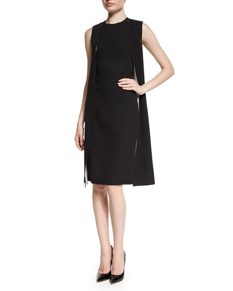 Ralph Lauren Sleeveless Double-Face Cape Dress, Black/Optic White