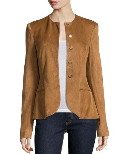 Ralph Lauren Button-Front Suede Peplum Jacket, Caramel