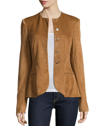 Button-Front Suede Peplum Jacket, Caramel