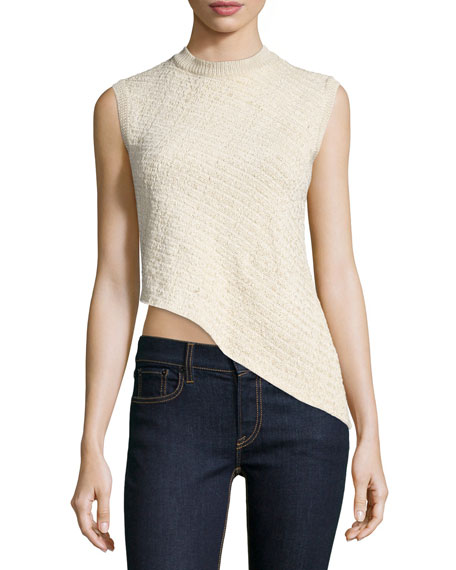 Ralph LaurenSleeveless Asymmetric-Hem Top, Blonde
