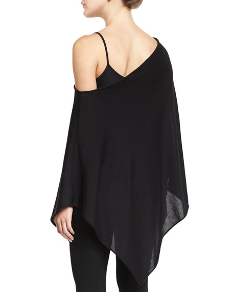 Off-The-Shoulder Asymmetric Poncho, Black