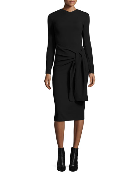 Ralph Lauren Long-Sleeve Tie-Waist Sheath Dress, Black