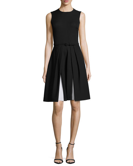 Ralph Lauren Sleeveless Two-Tone Cady Dress, Black/Optic White