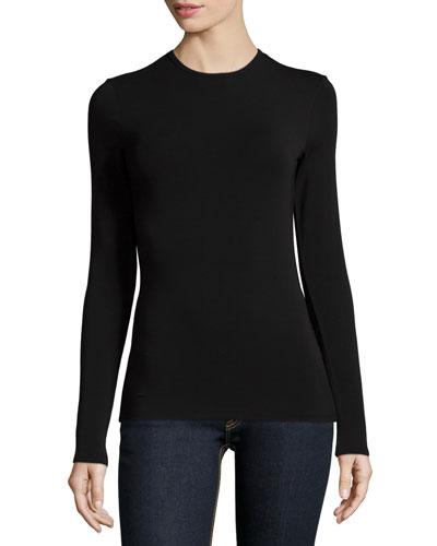 Long-Sleeve Jewel-Neck Top, Black