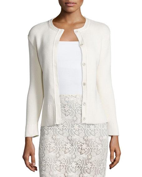 Nina Ricci Long-Sleeve Snap-Front Cardigan, Cream
