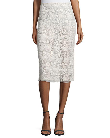 Nina Ricci Guipure-Lace Pencil Skirt, Cream