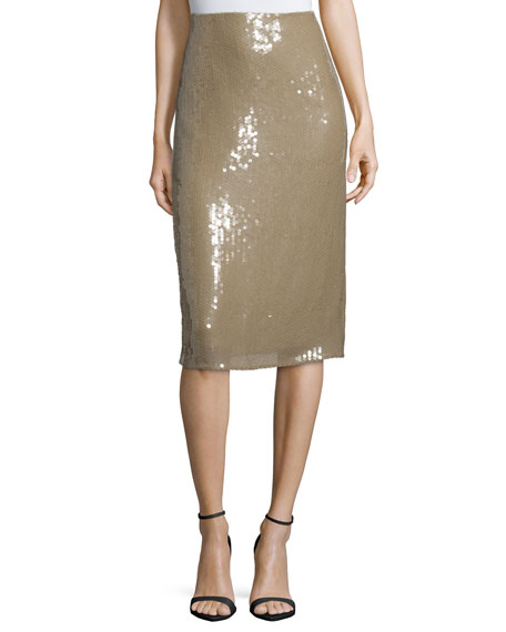 Embellished Below-Knee Pencil Skirt, Sage Beige