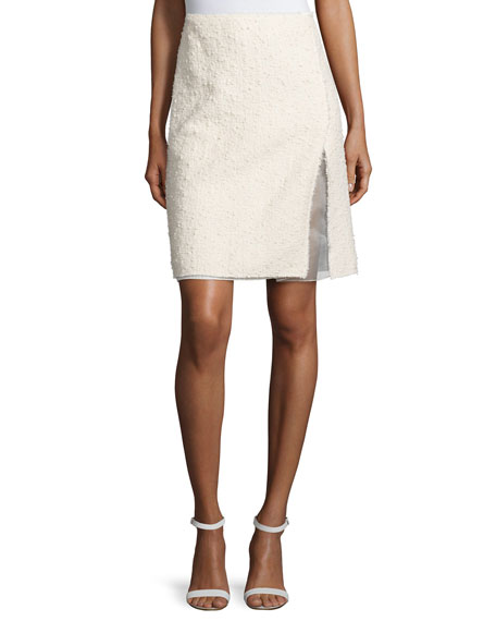 Nina Ricci Faux-Wrap Pencil Skirt, White