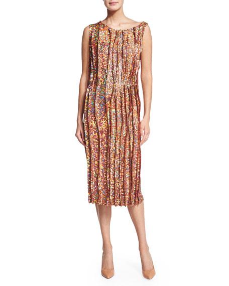 Nina Ricci Sleeveless Sequined Cocktail Sheath Dress, Peanut