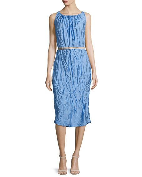 Nina Ricci Sleeveless Crinkled Sheath Dress, Sky Blue