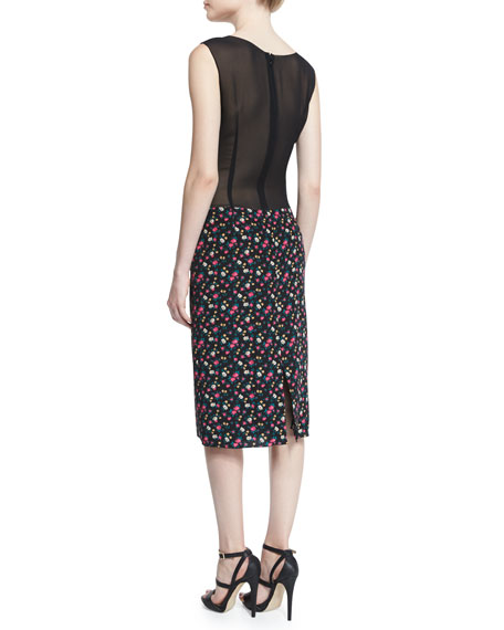 Sleeveless Ruched-Front Floral-Print Dress, Black