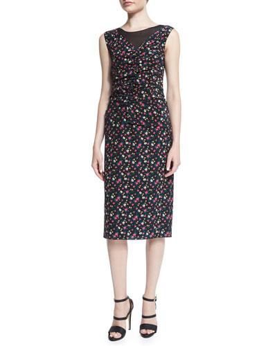 Nina Ricci Sleeveless Ruched-Front Floral-Print Dress, Black