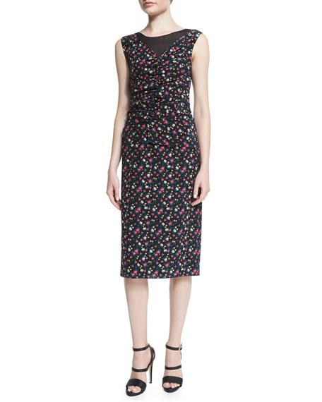 Nina RicciSleeveless Ruched-Front Floral-Print Dress, Black
